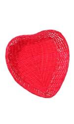 Corbeille Romance coeur rouge 33x33x7