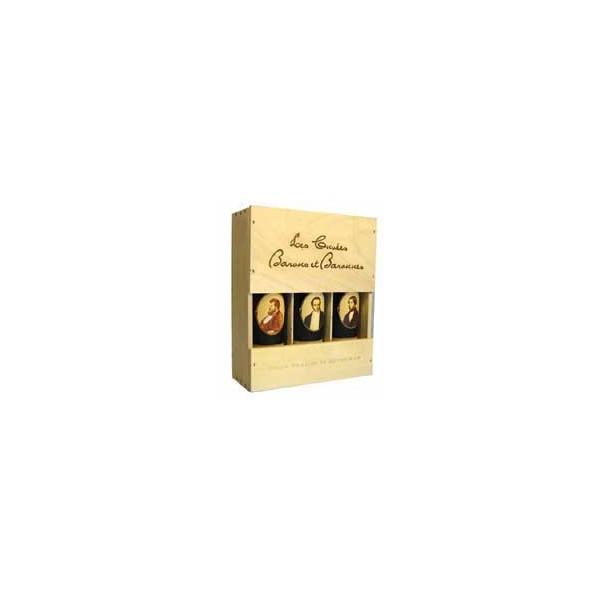 Caisse bois de 3 : 1 Pauillac, 1 Medoc, 1 St Emillion